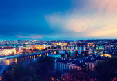 Panoramic view of Prague bridges — Stock Photo