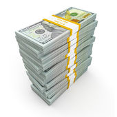 Stack of new 100 US dollars — Foto Stock