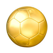 Golden soccer ball isolated — Stock Photo