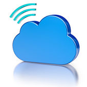Metal icon database icon and blue glossy cloud — Stock Photo