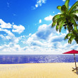 Beautiful palm beach - Stock Photo