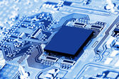 Electronic circuit board close up. — Stock Photo