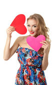 Girl with two hearts — Stock Photo
