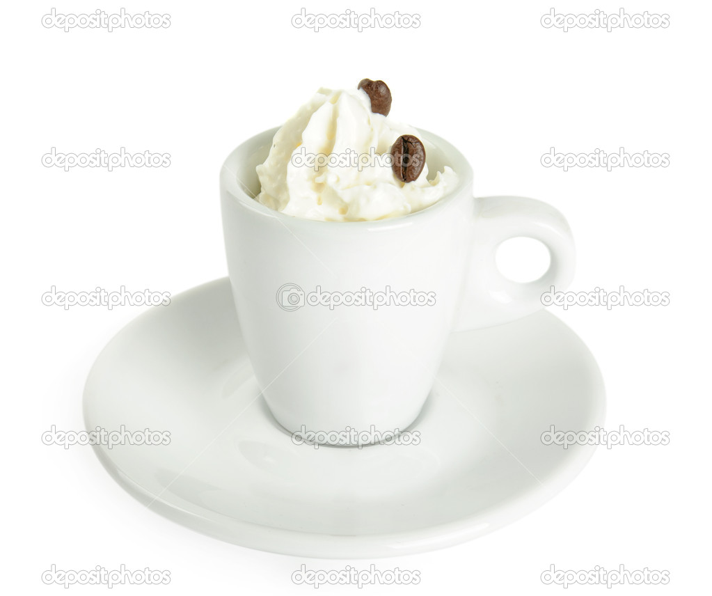Cup of Cafe Vienna (con panna) with cream isolated on white  Foto Stock #19002807