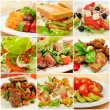 Collage with meals - Stockfoto