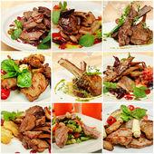 Collage mit fleischgerichte — Stockfoto