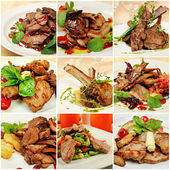Collage with meat meals — Stockfoto