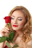 Retrato de una muchacha con rose — Foto de Stock