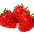 Three strawberry isolated on a white — Stock Photo
