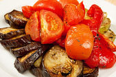 Grilled eggplant and tomatoes — Stock Photo
