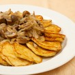 Potato pancakes with mushrooms — Stock Photo