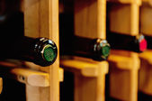 Wine bottles in the shop — Stock Photo