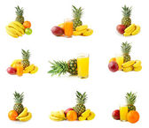 Fresh tropical fruits and juice — Stock Photo
