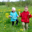 Boy and small girl  on meadow with dandelion - Foto Stock
