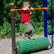 Cute little boy playing in a children playground . — Stock Video #12266015