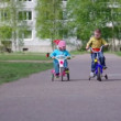 Stock Video: Children with bicycles