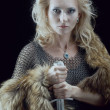 Stock Photo: Valkyrie.Viking girl with sword
