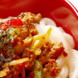 Udon noodles with beef tendon stew — Stock Photo