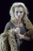 Valkyrie.Viking girl with sword — Stock Photo