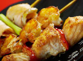 Japanese skewered seafoods Yakitori — Stock Photo