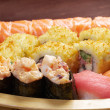 Assorted sushi Japanese food on the ship - Stock Photo