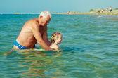 Lekcja pływania — Zdjęcie stockowe