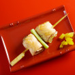 Japanese skewered salmon Yakitori — Stock Photo
