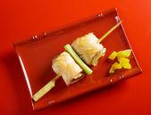 Japanese skewered salmon Yakitori — Stock Photo