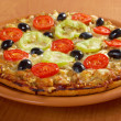 .home pizza with tomato and eggplant — Stock Photo #16019617