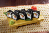 Japanese sushi made of Smoked fish and black roe — Stock Photo