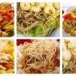 Stock Photo: Food set of different noodle .