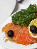 Seafood sliced arrangement — Stock Photo