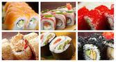 Food set Japanese Cuisine - Sushi Roll — Stock Photo