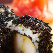 Japanese sushi  black roe — Stock Photo