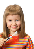 Girl with toothbrush — Stock Photo
