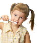 Girl with toothbrush — Foto Stock