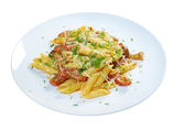 Italian Penne rigate pasta with — Stock Photo
