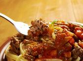 Pasta with beef tomato sauce — Stock Photo