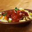 Pasta with tomato beef sauce - Zdjcie stockowe
