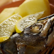 Mackerel on a grill. - 