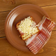 Cheese toast with piece  bacon - Stock Photo