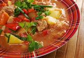 L Hungarian hot goulash soup — Stock Photo