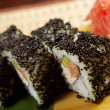 Japanese sushi made of Smoked fish and black roe - Stock Photo