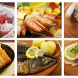 Food set of different  seafoods. - Stock Photo