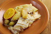 Fresh Halibut with sauce — Stock Photo