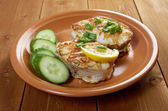 Grilled t-bone codfish steak — Stock Photo