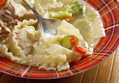 Chicken soup with noodle and vegetables — Stock Photo