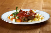 Pasta with tomato beef sauce — Stock Photo