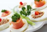 Stuffed eggs with salmon — Stock Photo