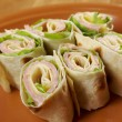 Healthy club sandwich pita bread roll - Stock Photo